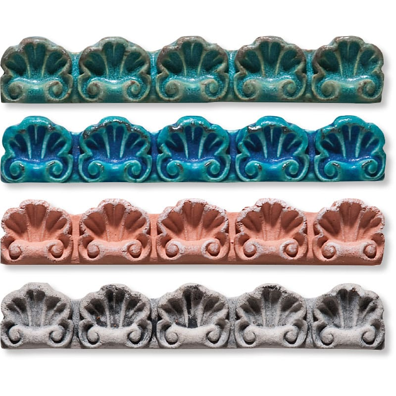 Large Shell Molding Antiqued 4x9x1 3/4 Architectural Ceramic Moulding