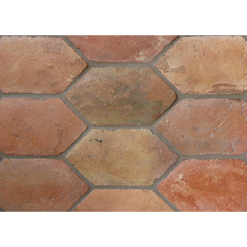 Atog Blend Antiqued Lozenges Terracotta Mosaics 11 1/2x5 3/4