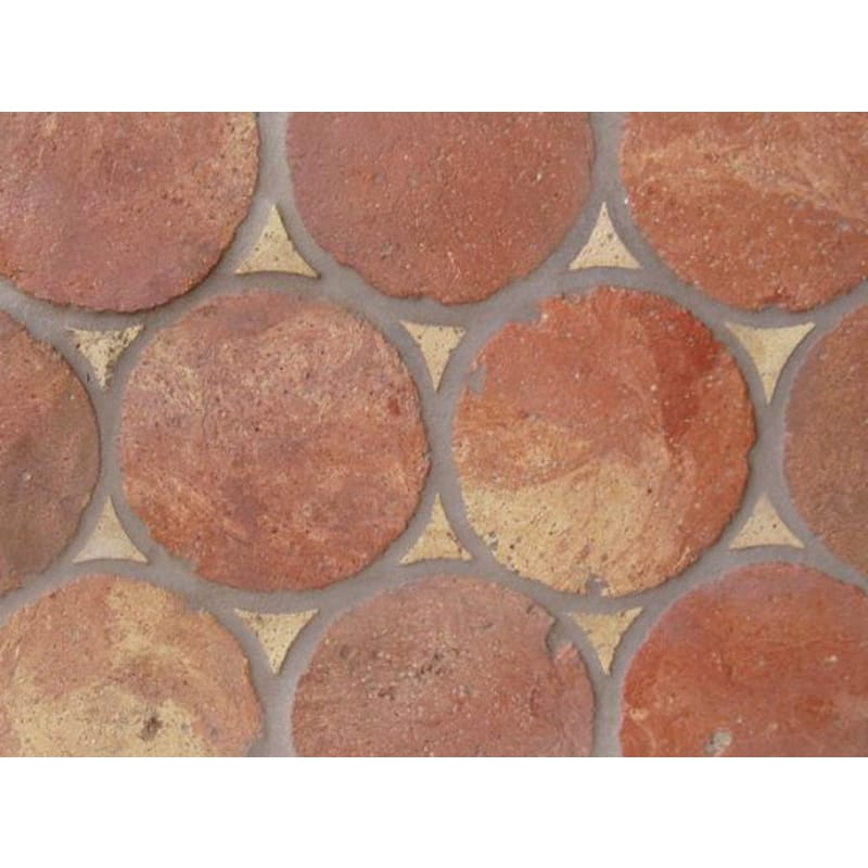 Atog Dark Antiqued Circular Terracotta Mosaics 5 3/4x5 3/4