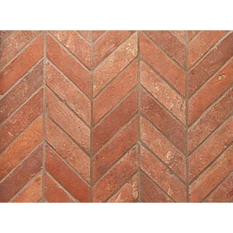 Atog Dark Antiqued 2 5/8x11 7/8 Chevron Terracotta Mosaic