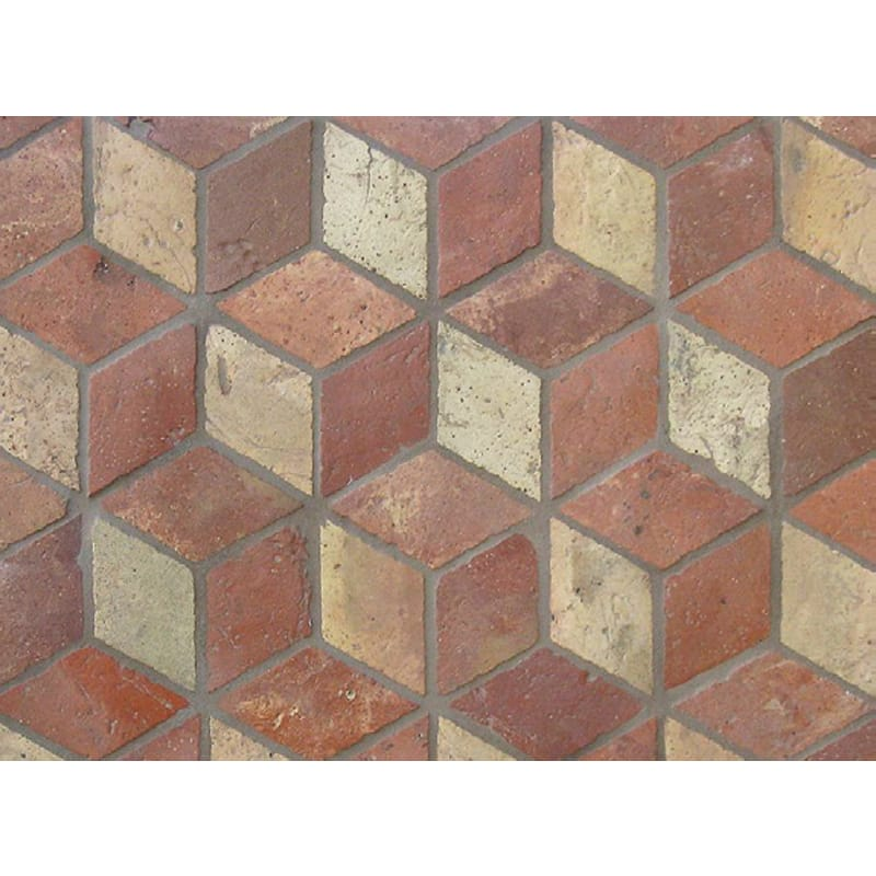 Atog Blend Antiqued Small Rhomboid 3d Terracotta Mosaics 5 3/4x5 3/4