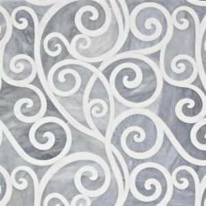 Allure Light, Snow White Polished Curvalicious Marble Waterjet Decos 12x12