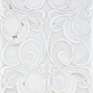 Snow White, Afyon White Multi Finish Euphoric Marble Waterjet Decos 15 7/8x19 3/8
