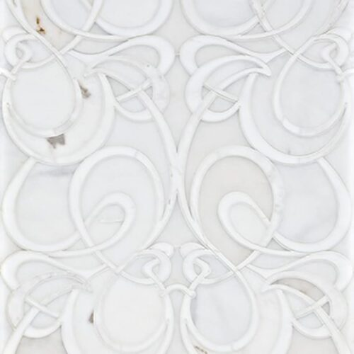 Snow White, Afyon White Multi Finish Euphoric Marble Waterjet Decos 15 7/8×19 3/8