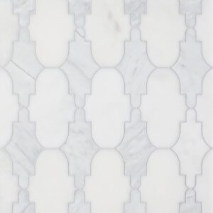 Avenza, Afyon White Multi Finish Curve Appeal Marble Waterjet Decos 12 1/3x11 5/8