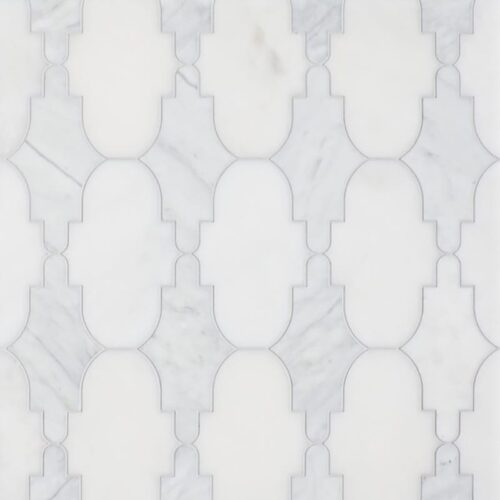 Avenza, Afyon White Multi Finish Curve Appeal Marble Waterjet Decos 12 1/3×11 5/8