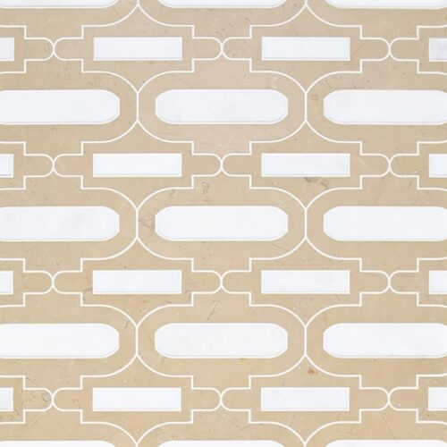 Sable, Afyon White Multi Finish Curve Appeal Window Marble Waterjet Decos 12 1/3×11 5/8