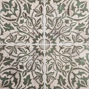 Voysey A-20a Biscuit, Jade Glazed Ceramic Tiles 6x6