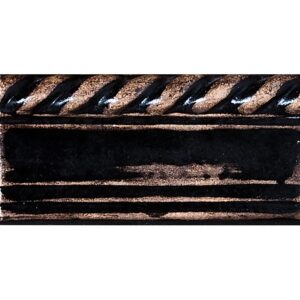 Wash Fieldstone Black Glazed Rope Crown Ceramic Moldings 3 1/4x6
