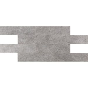 Silver Flow Natural 2 3/4x11 1/2 Brick Mesh Mount Porcelain Mosaics 12x24