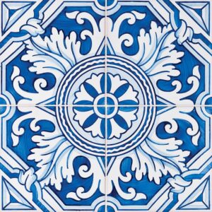 122 Kaleidoscope, Blue Glazed Ceramic Tiles 5 1/2x5 1/2