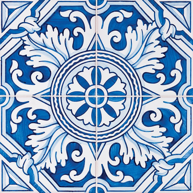 122 Kaleidoscope, Blue Glazed 5 1/2x5 1/2 Ceramic Tiles 5 1/2x5 1/2
