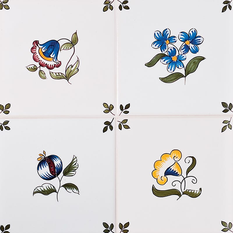 181a Garden Flowers, Poly Glazed Ceramic Tiles 5 1/2x5 1/2