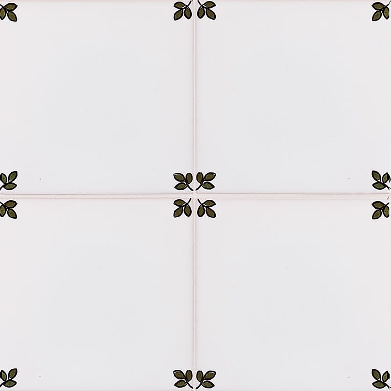 192a Garden Blanc, Poly Glazed Ceramic Tiles 5 1/2x5 1/2