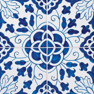 198 Camelias, Blue Glazed Ceramic Tiles 5 1/2x5 1/2