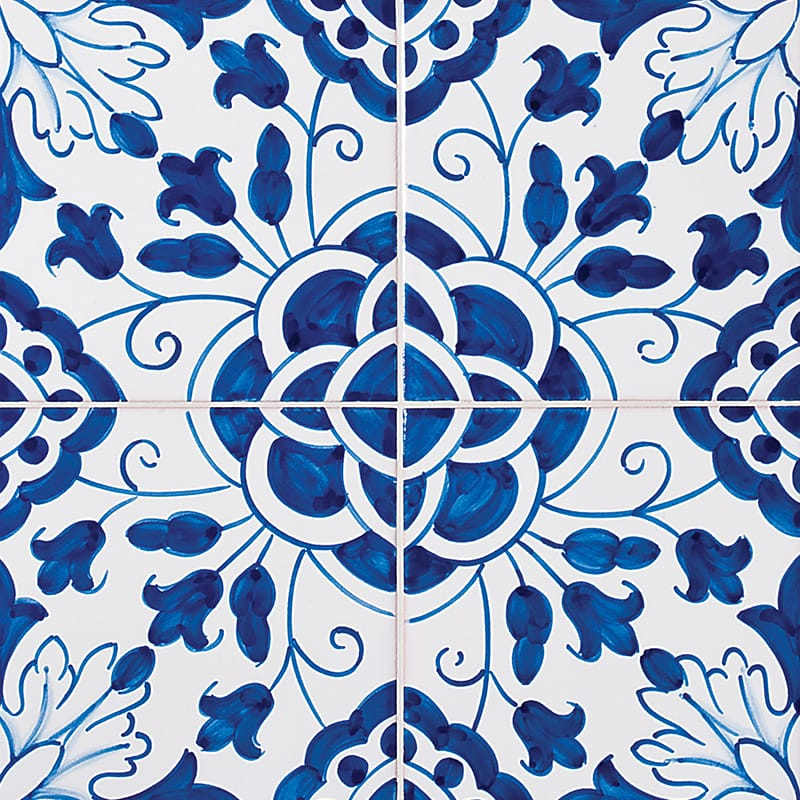 198 Camelias, Blue Glazed 5 1/2x5 1/2 Ceramic Tiles 5 1/2x5 1/2