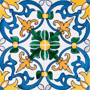 Seixas, Blue & Yellow Glazed Ceramic Tiles 5 1/2x5 1/2