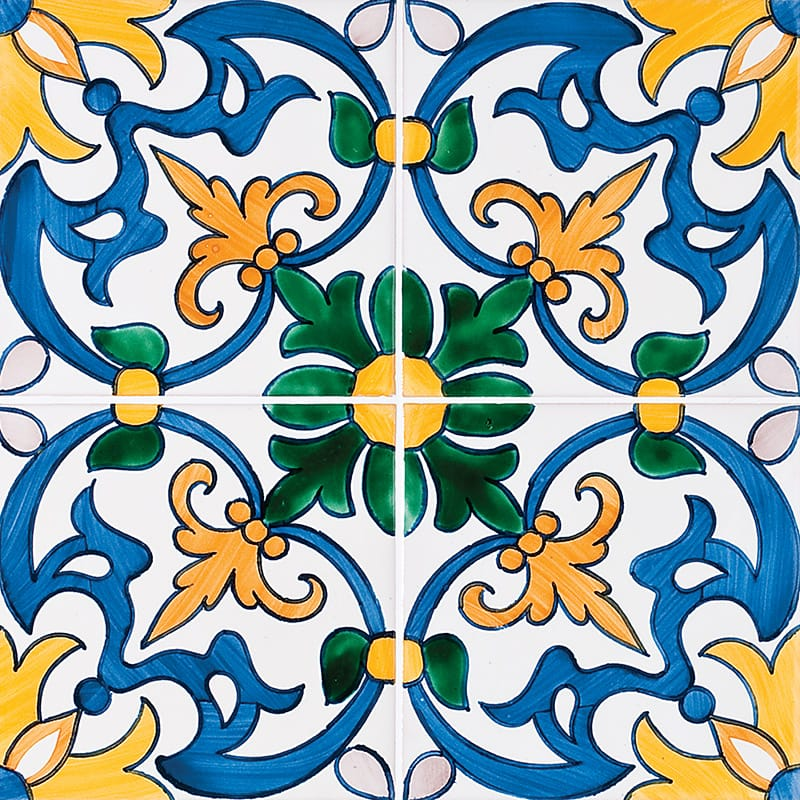 Seixas, Blue & Yellow Glazed 5 1/2x5 1/2 5 1/2x5 1/2 Ceramic Wall Tile
