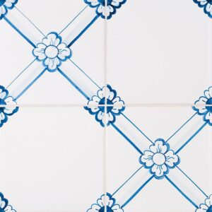 249 Gelosia, Blue Glazed Ceramic Tiles 5 1/2x5 1/2