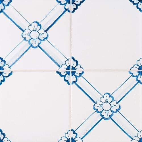 249 Gelosia, Blue Glazed Ceramic Tiles 5 1/2×5 1/2