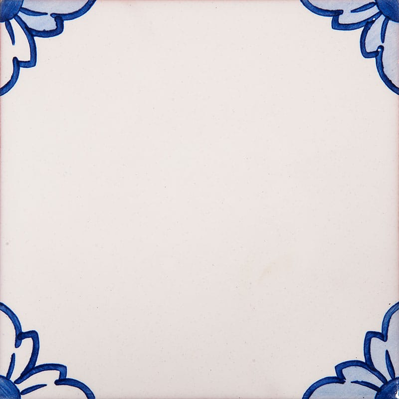 249a Gelosia Blanc, Blue Glazed Ceramic Tiles 5 1/2x5 1/2