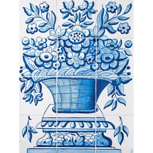 Cesta Panel Blue Glazed Ceramic Tiles 22×16 1/2