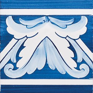 Acanthus Brd Blue Center Glazed Ceramic Tiles 5 1/2x5 1/2