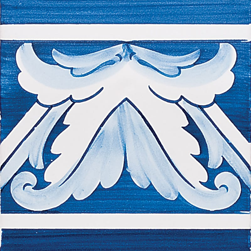 Acanthus Brd Blue Center Glazed 5 1/2x5 1/2 5 1/2x5 1/2 Ceramic Wall Tile