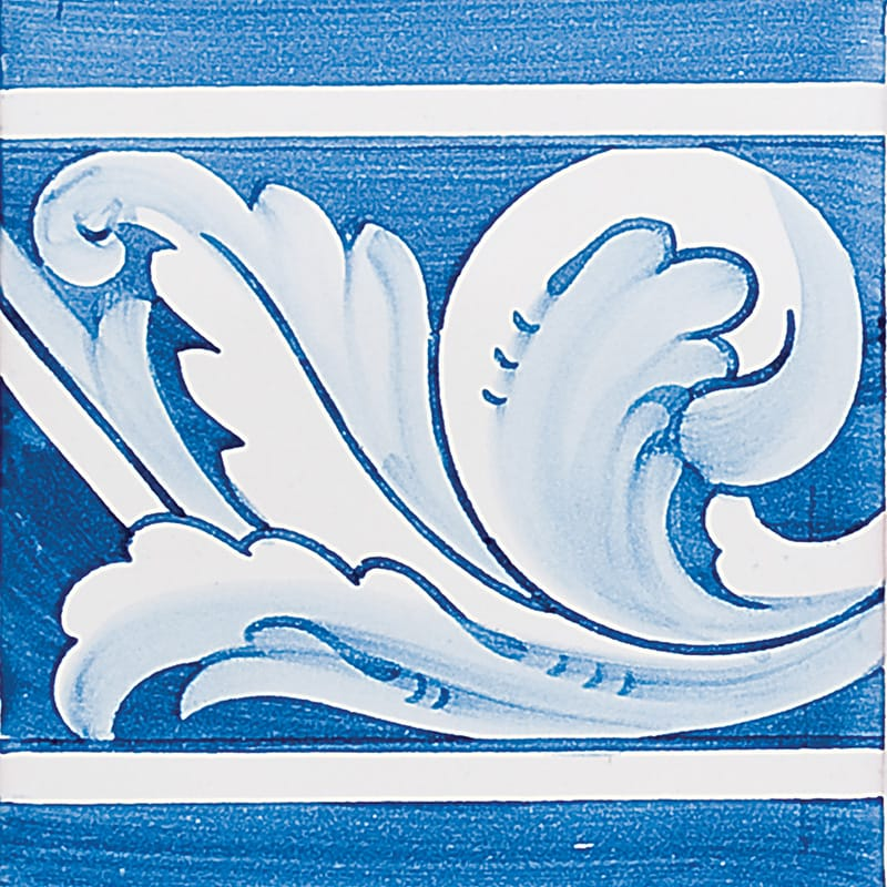 Acanthus Brd Blue Leaf Glazed 5 1/2x5 1/2 5 1/2x5 1/2 Ceramic Wall Tile