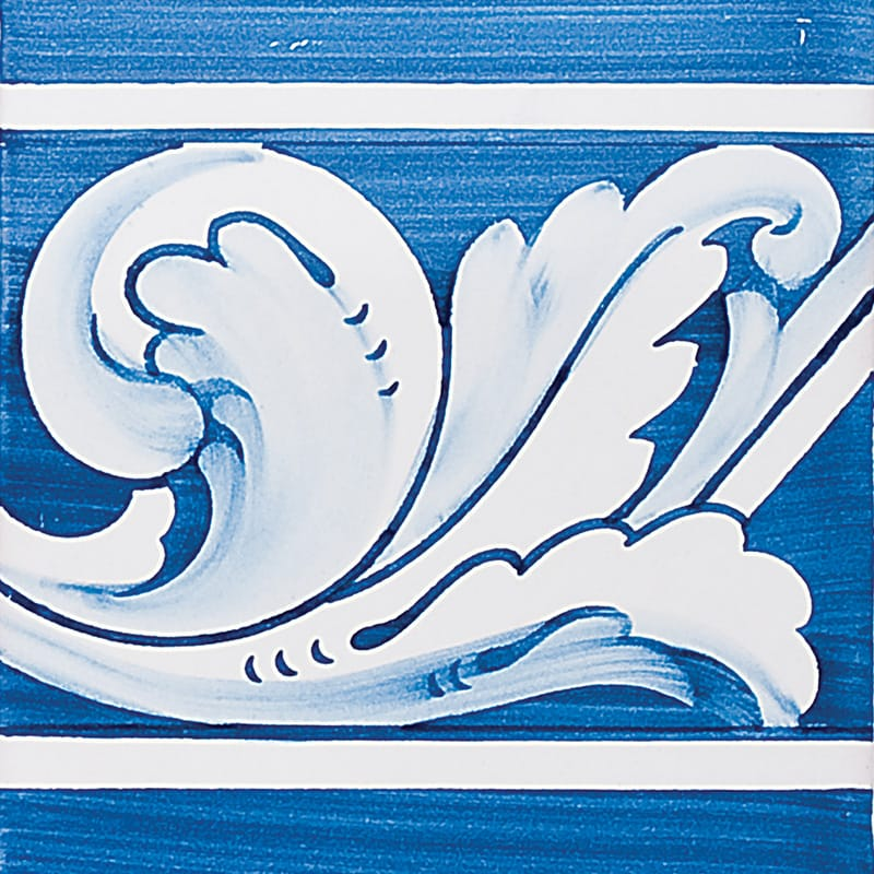 Acanthus Brd Blue Leaf Glazed 5 1/2x5 1/2 Ceramic Tiles 5 1/2x5 1/2