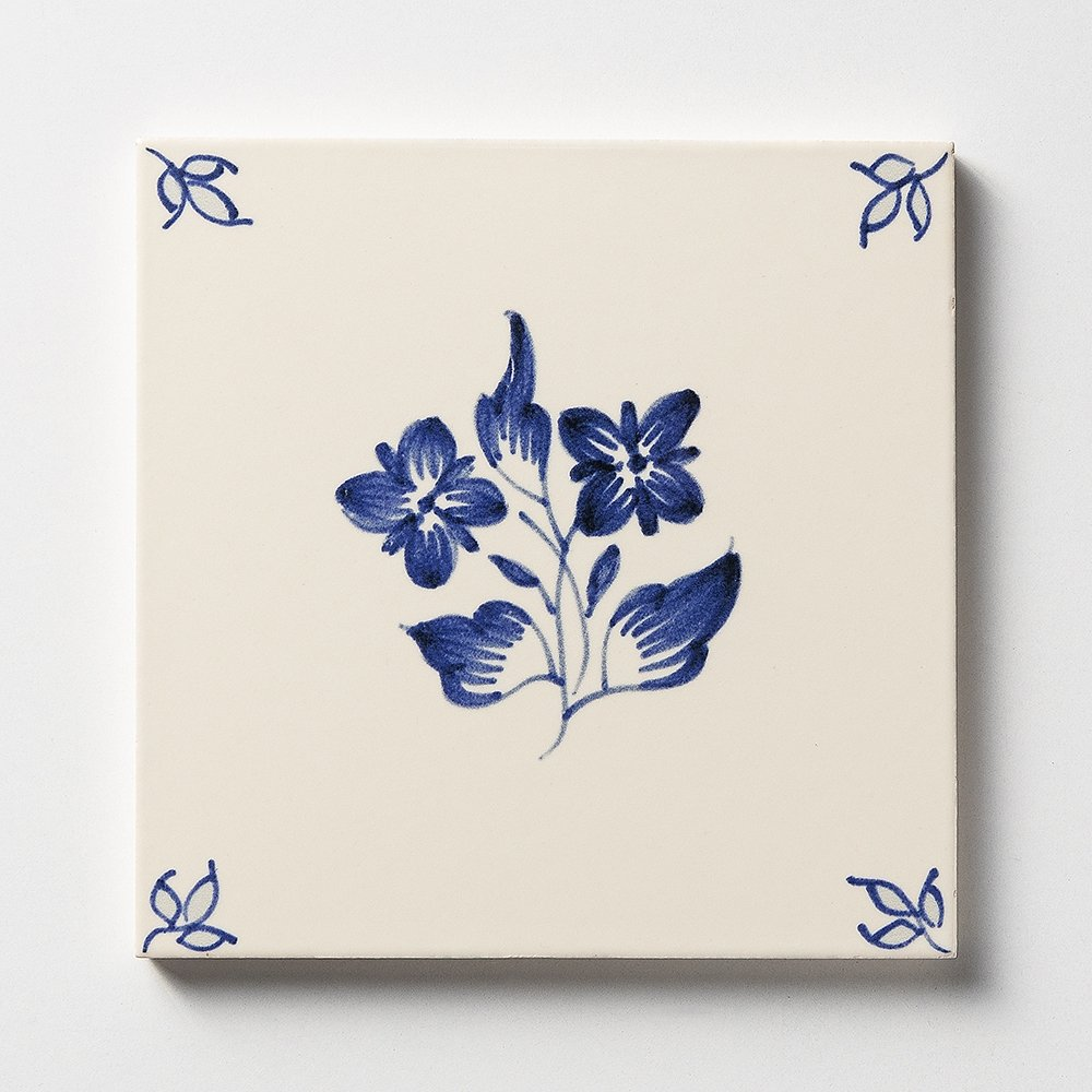 238b Garden Flowers Blue Glazed Ceramic Tiles 6x6