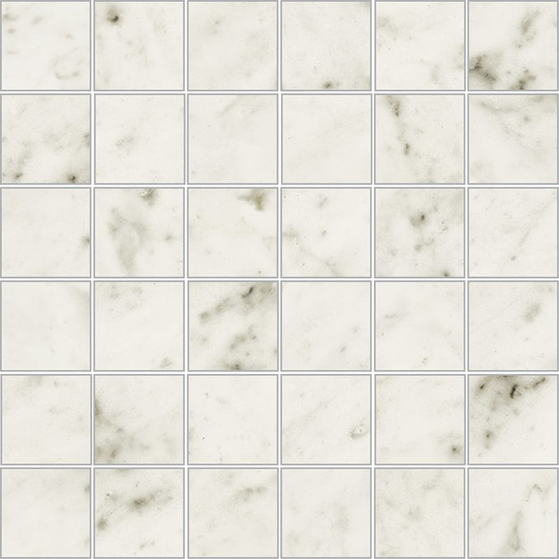 Bianco Carrara Polished 2x2 Porcelain Mosaics 12x12