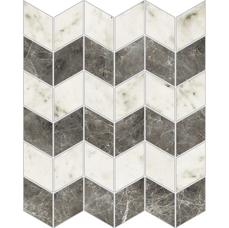 Bianco Carrara Polished Zig-zag Porcelain Mosaics 12x13