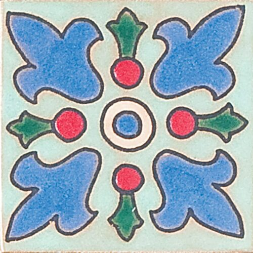 130 Glazed Crest Flower Ceramic Tiles 3×3