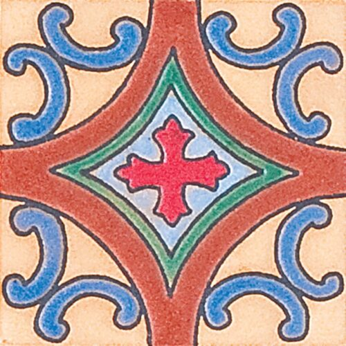 233 Glazed Spanish Cross Ceramic Tiles 3×3
