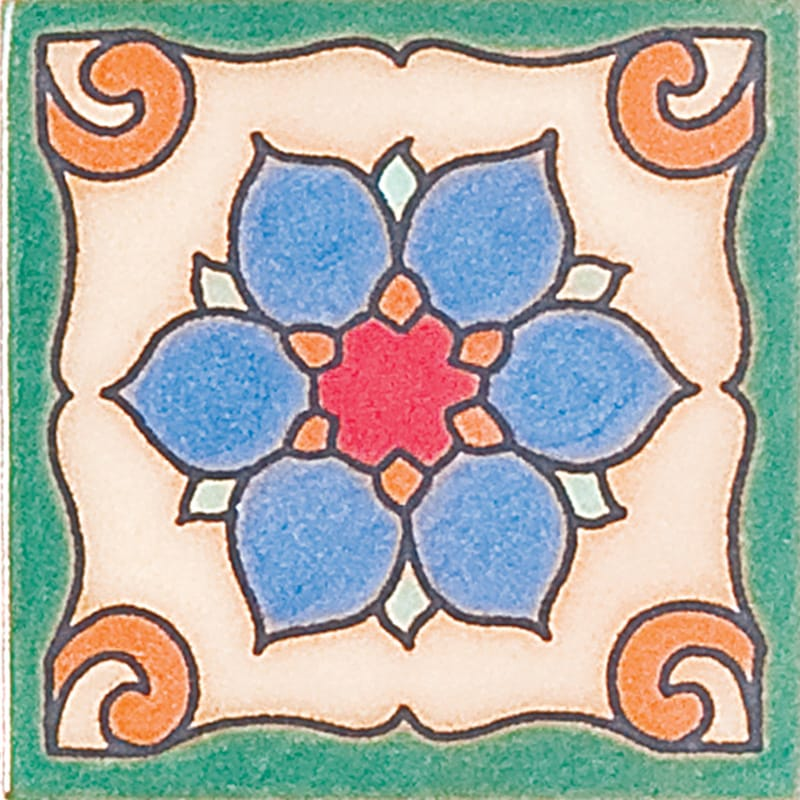 139 Glazed Dragon Flower Ceramic Tiles 3x3