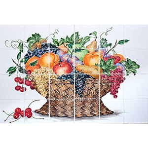 Fruit Basket Flat Painted Glossy Ceramic Panels 16x24