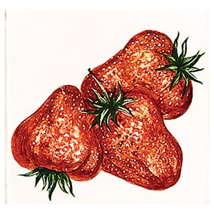 Strawberries Glossy Ceramic Tiles 4x4