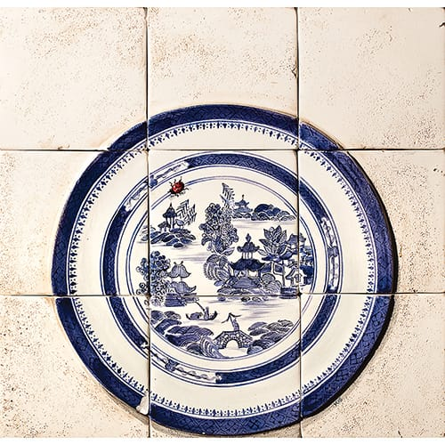 Chinese Plate Ivory Embossed Polychrome Matte Ceramic Panels 12×12