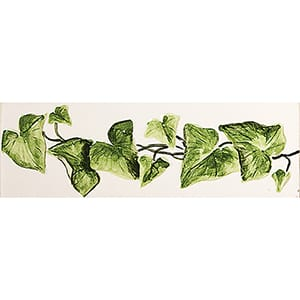 Relief Ivy Glossy Hand Molded Ceramic Borders 2x6