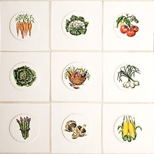Relief Vegetables Glossy Ceramic Tiles 4x4