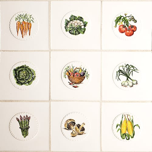 Relief Vegetables Glossy Ceramic Tiles 4×4