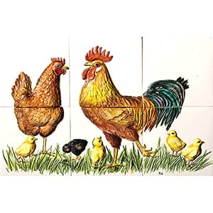 Hen Rooster Chicks Glossy Ceramic Panels 8x12