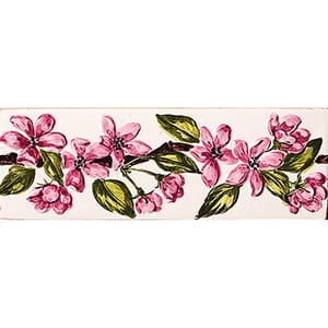 Pink Morning Glory Flower Glossy Ceramic Borders 2x6