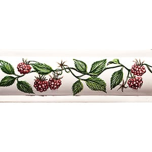 Handmolded Relief Raspberry Domed Glossy Ceramic Borders 2x6