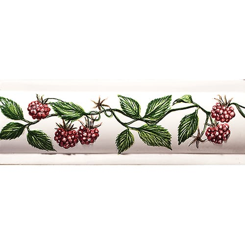 Handmolded Relief Raspberry Domed Glossy Ceramic Borders 2×6