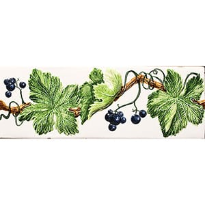 Handmolded Relief Grape Vine Blue Glossy Ceramic Borders 2x6