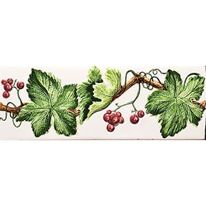 Handmolded Relief Grape Vine Red Glossy Ceramic Borders 2x6