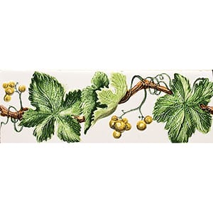 Handmolded Relief Grape Vine Yellow Glossy Ceramic Borders 2x6