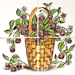 Raspberry Basket Glossy Ceramic Panels 12x12